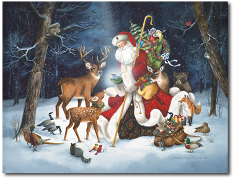 santa claus christmas card - Animal Christmas Cards